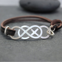 DOUBLE INFINITY Cow leather Bracelet, Genuine Leather, cuff, for men, sterling, silver, eternity