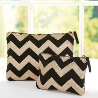 Sequin Beauty Pouches - Black & Gold Chevron