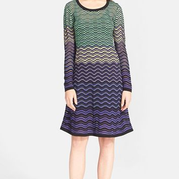 Women's M Missoni Long Sleeve Wave Knit Dress,