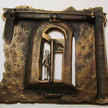 JJ Vintage Pin Shadow Man ruins- rare Jonette Jewelry brooch accessory- Unique Gift Unisex- Artifacts collectible 1986