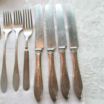 Antique Silver Plate FlatWare, Mismatched Silverware, Knives, Forks, Tea Spoons, Service for Four, 30's 40s, Wm Rogers, Community Silver