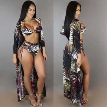 Leaf Print High Waist Swimwear and Overalls