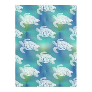 Sea Turtles Blue Aqua Fleece Blanket