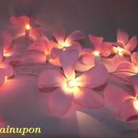 PINK FRANGIPANI/PLUMERIA STRING PARTY,PATIO,TEEN BEDROOM,DECOR,,WEDDING LIGHTS