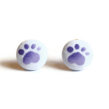 Paw Print Purple Fabric Covered Button Earrings