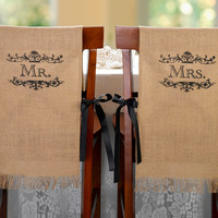 Personalized Burlap Chair Covers