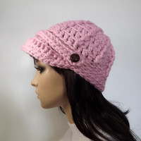 Crochet Newsboy Womens Hat Sportswear Beanie With Button Tab Visor Cap