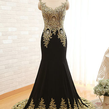 New Arrival Evening Dresses Unique Design Peacock See Through Top with Lace Appliques Long Chiffon Mermaid Crystal Gold Lace Prom Dress 2015