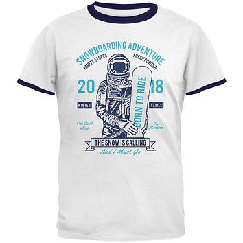 Winter Games Snowboarding Adventure Born to Ride Mens Ringer T Shirt