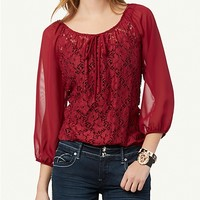 Lace Bubble Peasant Top | Tops | rue21