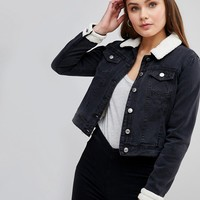 Parisian Denim Jacket with Fleece Collar and Cuffs at asos.com