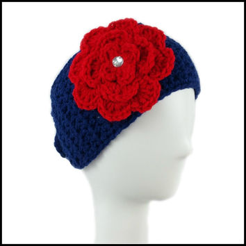 Navy Blue Earwarmer with Red Flower