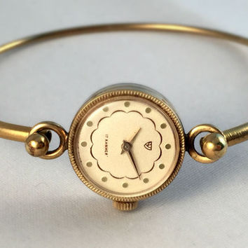 """Elegant mini women's wristwatch """" Chaika"""". Gorgeous tiny, gold tone women's watch with unsual closure and wristlet, great gift idea for her"""