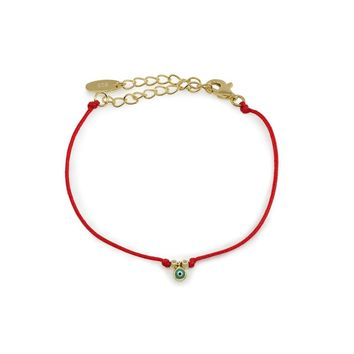 BecKids Red Kindred Cord Mini Evil Eye Teen Bracelet in Sterling Silver, Length: 5.5-7.5 Inches