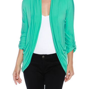 Womens Rayon Jersey Draped 3/4 Sleeve Open Front Cardigan