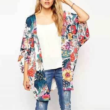 Ladies Bright and Colorful Abstract Floral Print Kimono Cover-Up