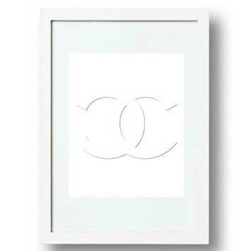 Chanel Wall Art, Chanel Logo Sign, cc Logo Embossed, Coco Chanel Quote, A4, High Res. jpg and pdf,  PLUS FREE GIFT
