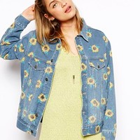 ASOS Denim Jacket with 'Save The Flowers' Print