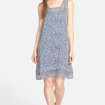 Women's Eileen Fisher Print Crinkle Silk Shift Dress,