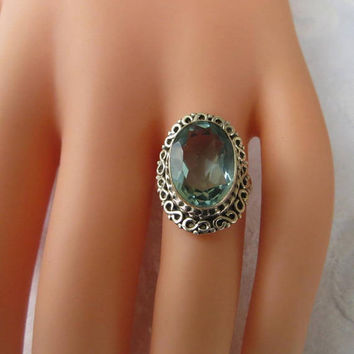 Sterling Aquamarine Ring, Vintage Faceted Aquamarine Gemstone Ring, Size 6.5, Aquamarine Jewelry