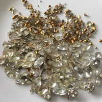 Huge Lot Rhinestones Clear Vintage Glass Over 700 Assorted Czech Swarovski Fancy