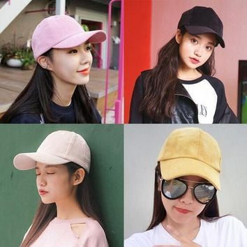 Corduroy korean style caps women soild color Dad Hat for Womens black pink Baseball C