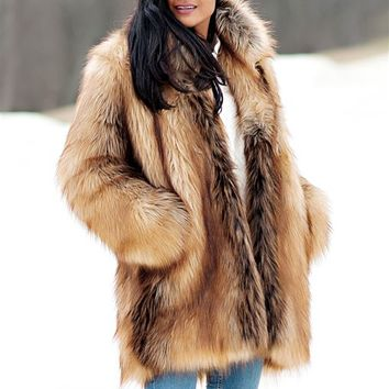 Red Fox Shawl Collar Faux Fur Jacket | Womens Faux Fur Shawls - Donna Salyers Fabulous-Furs