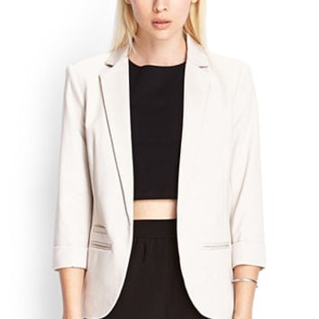 FOREVER 21 Soft Knit Blazer Taupe