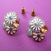 SALE - Round Floral Circle Stud Earrings with Rhinestone Detail from Dotoly Love