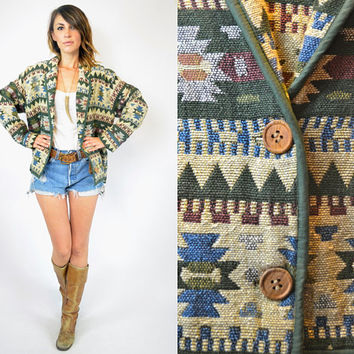 oversized GEOMETRIC southwestern CROPPED earthy blanket TAPESTRY jacket, small-medium