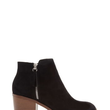 Zipped Faux Suede Booties