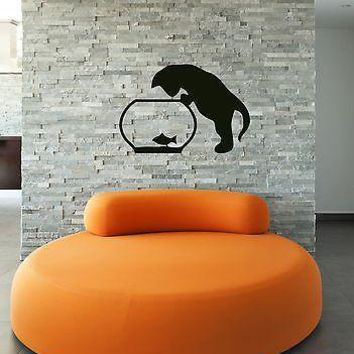 Wall Stickers Vinyl Decal Cat Animal Aquarium Great Decor for Nursery Unique Gift (ig953)