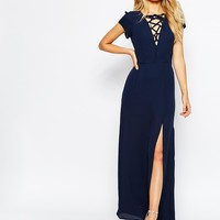Love Plunge Tie Front Maxi Dress With Thigh Split at asos.com