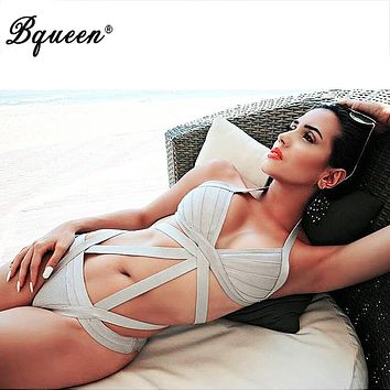 Bqueen 2017  Black New Fashion Sexy Women One piece Bandage Swimsuits Bathing Suit Bodysuit