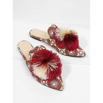Pom Pom Decorated Flats