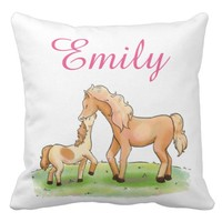 Mother and Child Horse Equestrian Love Personalize Throw Pillow