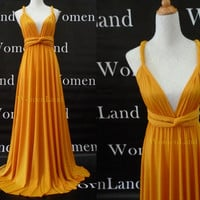 Infinity Dress Convertible Bridesmaid Dress in Golden Yellow Floor Length Evening Party Prom Dress Custom Made Plus Size Woman Dresses