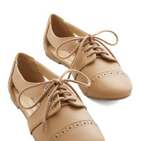 ModCloth Menswear Inspired Rocky Road Trip Flat in Toffee