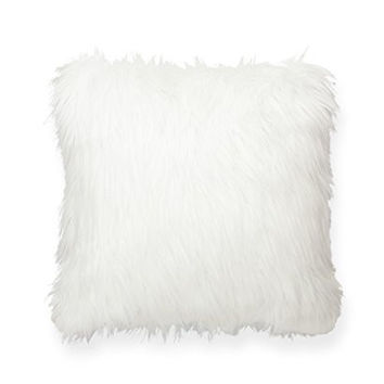 POSH 365 Faux Fur Decorative Throw Pillow, Large, White