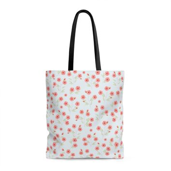 Coral Pattern with blue Tote Bag