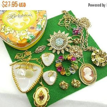 Century sale 30% Tin of Jewels Ready to Wear  Necklaces Clip earrings Brooches Rings Brighton tin W