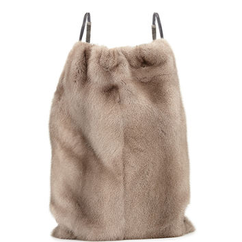 Mink Fur Drawstring Backpack w/Monili Straps, Gray - Brunello Cucinelli