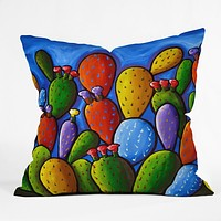Renie Britenbucher Prickly Pear Cactus Throw Pillow