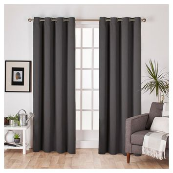 Set of 2 Sateen Twill Weave Insulated Blackout Grommet Top Window Curtain Panels - Exclusive Home®