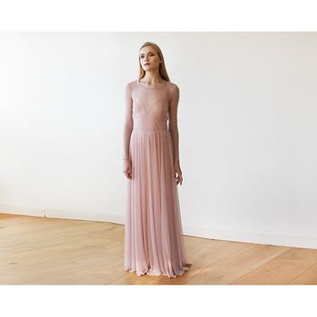 Blush Pink Chiffon Round Neckline Gown With Long Sleeves 1102