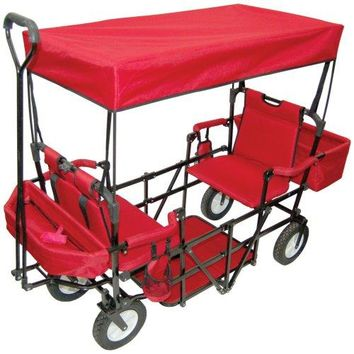 2 Seater Folding Wagon with Canopy & Add-on Baskets Included