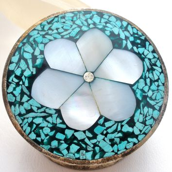 Inlay MOP & Turquoise Silver Pill Box Vintage