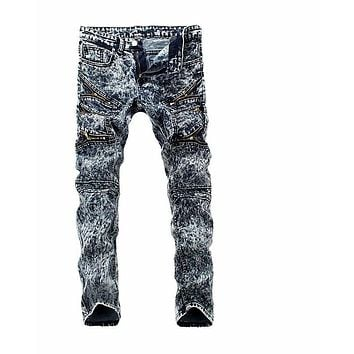 Blue Tie Dye Printing Jeans Men Multi-zipper Adornment Biker Jeans Fashion Straight Jeans Home Trousers