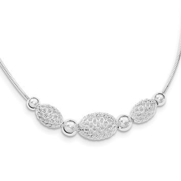 Sterling Silver Fancy Chain W/large Filigree Beads Necklace