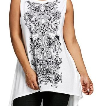 Sleeveless Paisley High Low T-Shirt
